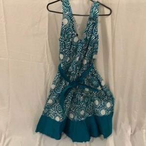 Turquoise and white party dress Size 14